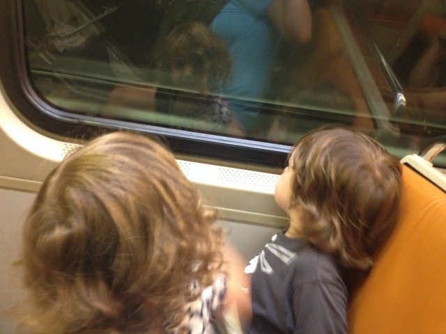 On the metro! (Disheveled Mommy not pictured)
