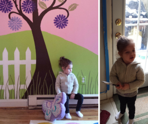 Maddy saying one last goodbye to her mural and then helping with the kitchen painting.